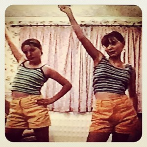 Fats and I performing a Gina G dance routine in matching outfits, about a year after our fateful meeting in Mrs Blackmore's art class