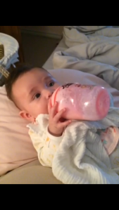 Betsy loves her bottle so much, she feeds herself!